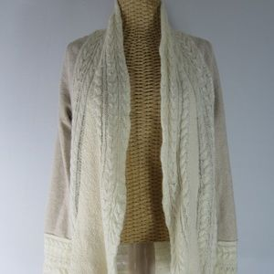 Knitted Knotted L Beige Ivory Wool Cable Cardigan